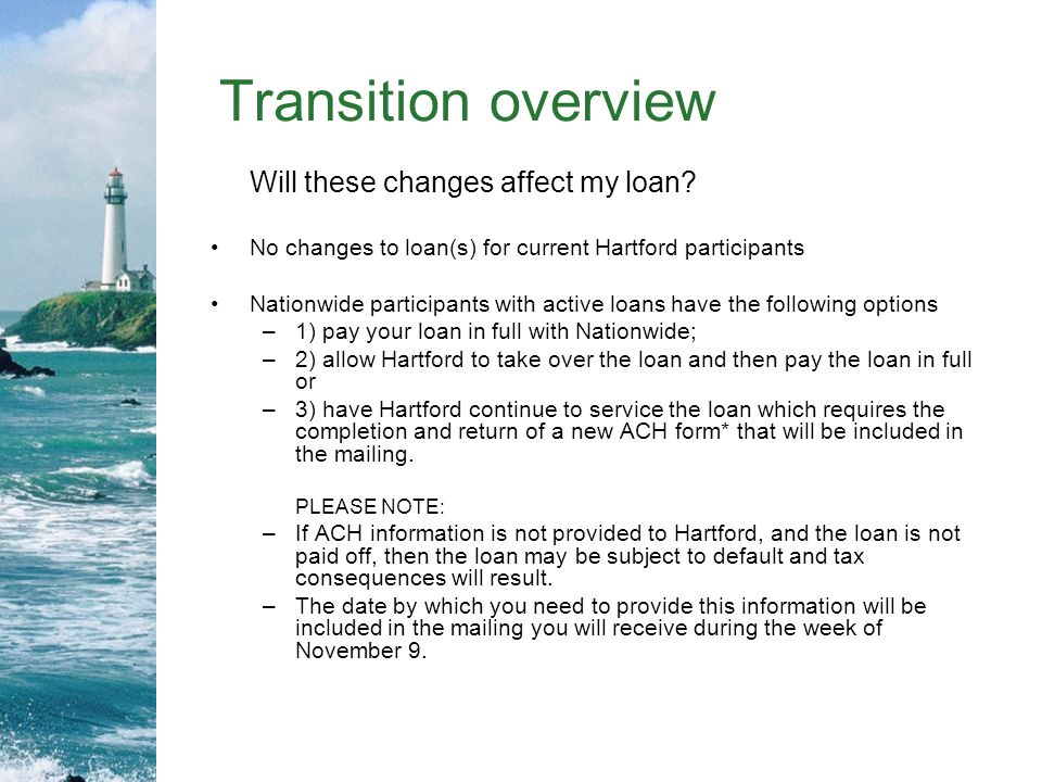 Transition overview Will these changes affect my loan.