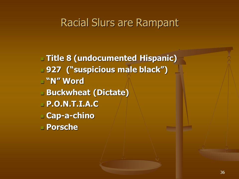 36 Racial Slurs are Rampant Title 8 (undocumented Hispanic) Title 8 (undocumented Hispanic) 927 (suspicious male black) 927 (suspicious male black) N