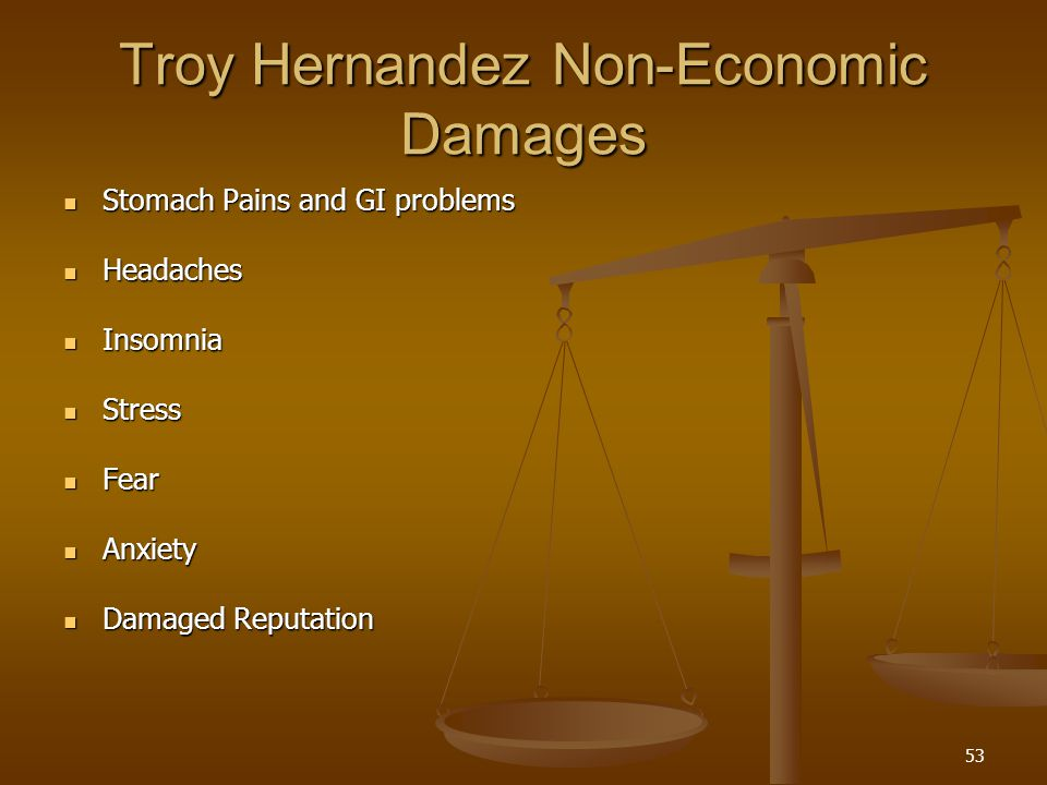 53 Troy Hernandez Non-Economic Damages Stomach Pains and GI problems Stomach Pains and GI problems Headaches Headaches Insomnia Insomnia Stress Stress Fear Fear Anxiety Anxiety Damaged Reputation Damaged Reputation