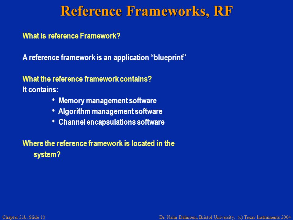 Dr. Naim Dahnoun, Bristol University, (c) Texas Instruments 2004 Chapter 21b, Slide 10 Reference Frameworks, RF What is reference Framework? A referen