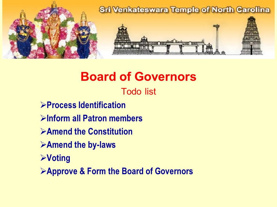 Board of Governors Todo list Process Identification Inform all Patron members Amend the Constitution Amend the by-laws Voting Approve & Form the Board of Governors