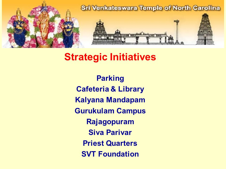 Strategic Initiatives Parking Cafeteria & Library Kalyana Mandapam Gurukulam Campus Rajagopuram Siva Parivar Priest Quarters SVT Foundation