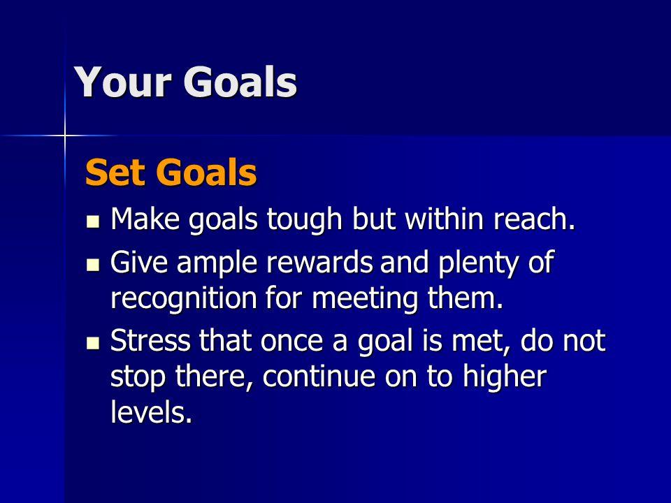 Set Goals Make goals tough but within reach. Make goals tough but within reach.