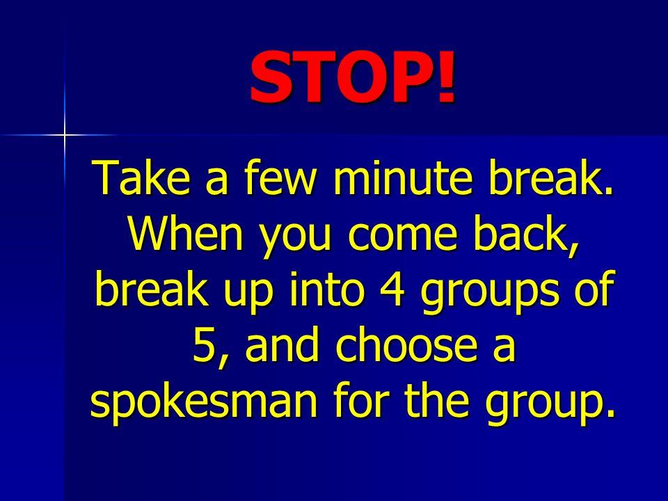 STOP. Take a few minute break.