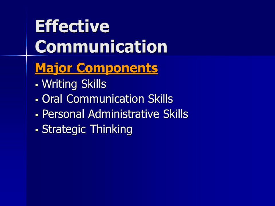 Effective Communication Major Components Writing Skills Writing Skills Oral Communication Skills Oral Communication Skills Personal Administrative Skills Personal Administrative Skills Strategic Thinking Strategic Thinking