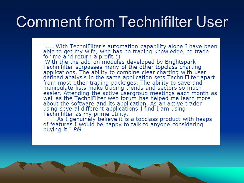 Comment from Technifilter User ....