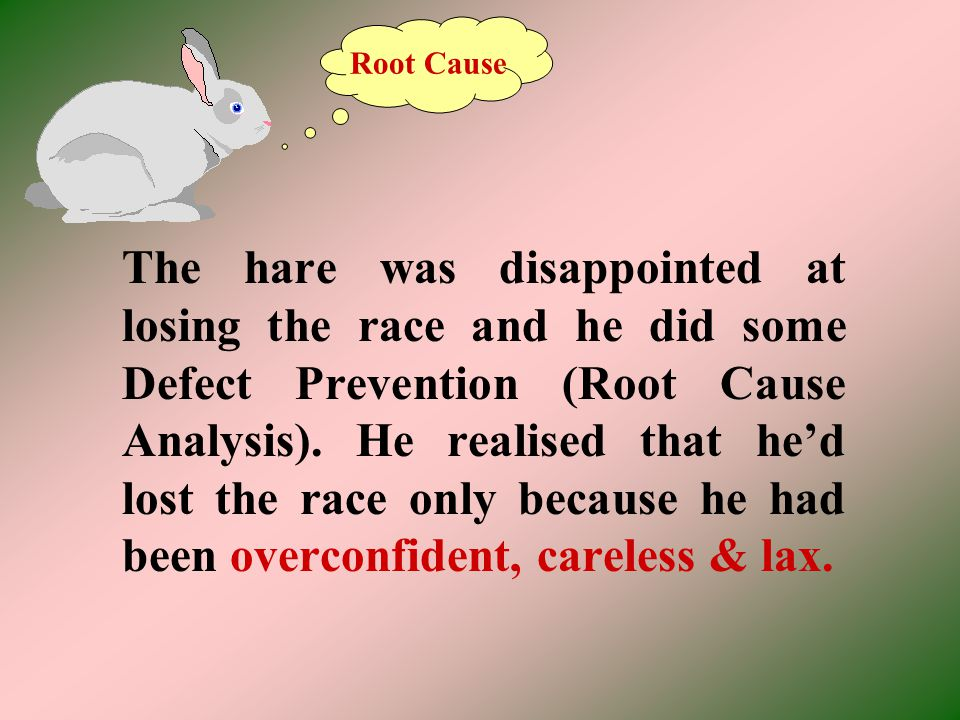 The hare was disappointed at losing the race and he did some Defect Prevention (Root Cause Analysis). He realised that hed lost the race only because