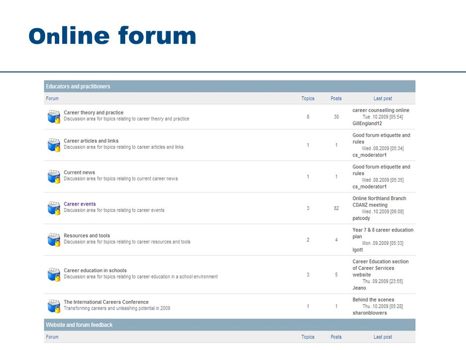 On line forum