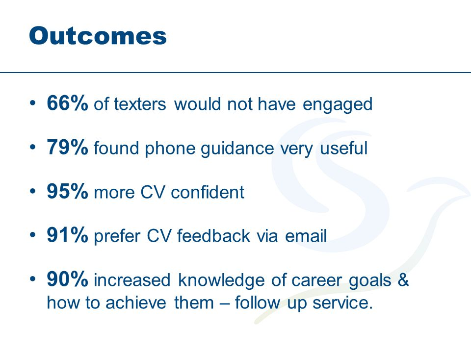 Outcomes 66% of texters would not have engaged 79% found phone guidance very useful 95% more CV confident 91% prefer CV feedback via email 90% increased knowledge of career goals & how to achieve them – follow up service.