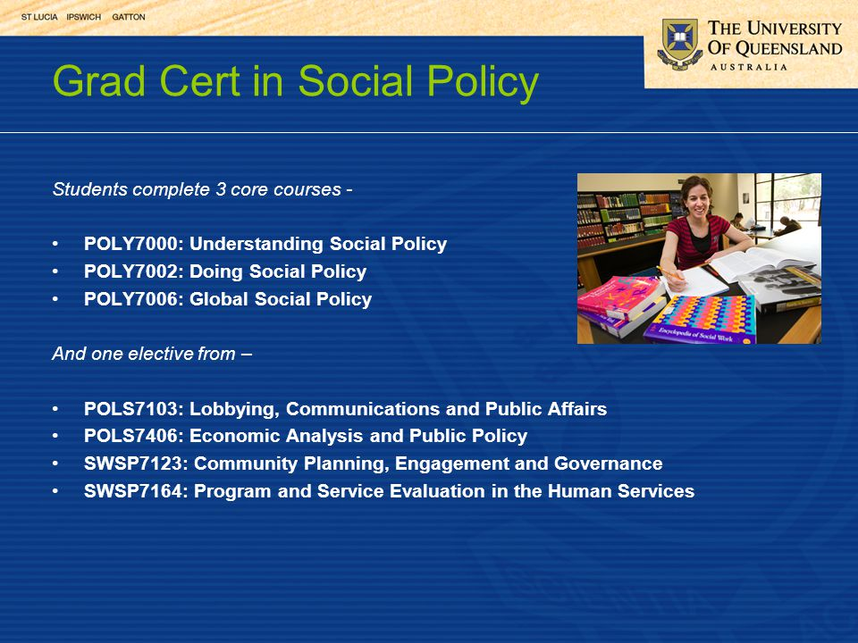 Grad Cert in Social Policy Students complete 3 core courses - POLY7000: Understanding Social Policy POLY7002: Doing Social Policy POLY7006: Global Social Policy And one elective from – POLS7103: Lobbying, Communications and Public Affairs POLS7406: Economic Analysis and Public Policy SWSP7123: Community Planning, Engagement and Governance SWSP7164: Program and Service Evaluation in the Human Services
