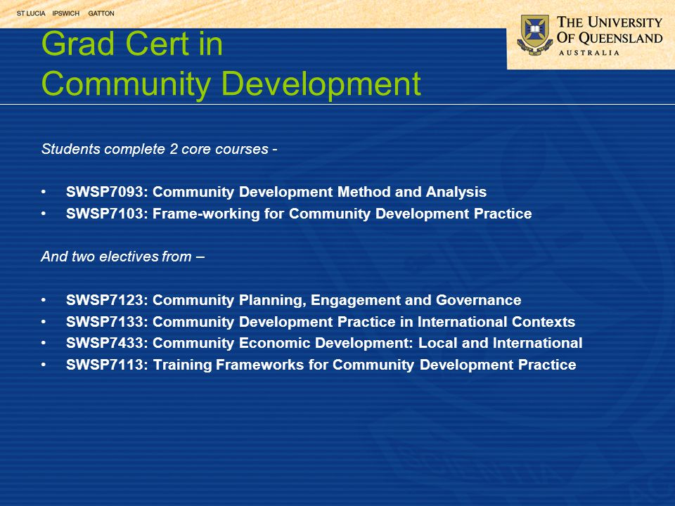 Grad Cert in Community Development Students complete 2 core courses - SWSP7093: Community Development Method and Analysis SWSP7103: Frame-working for Community Development Practice And two electives from – SWSP7123: Community Planning, Engagement and Governance SWSP7133: Community Development Practice in International Contexts SWSP7433: Community Economic Development: Local and International SWSP7113: Training Frameworks for Community Development Practice