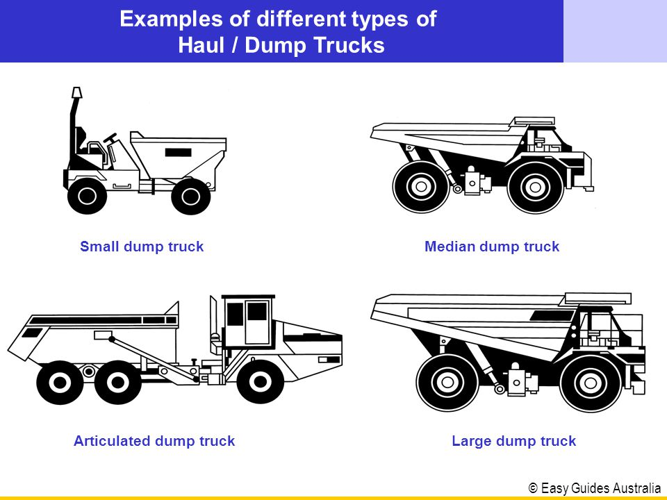 © Easy Guides Australia The information in this show is for operating a Haul / Dump Truck A dump truck is a vehicle fitted with a tray that is designed to haul and dump various types of materials.