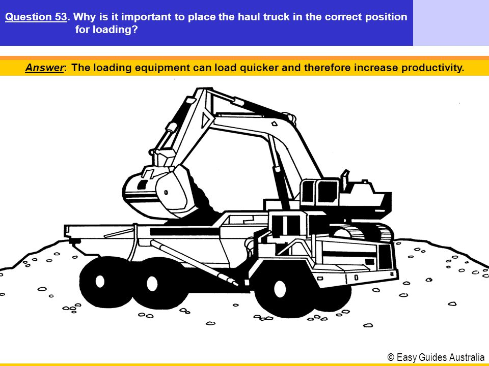 © Easy Guides Australia Answer: It would decrease the safe operating speed of the haul truck and reduce productivity.