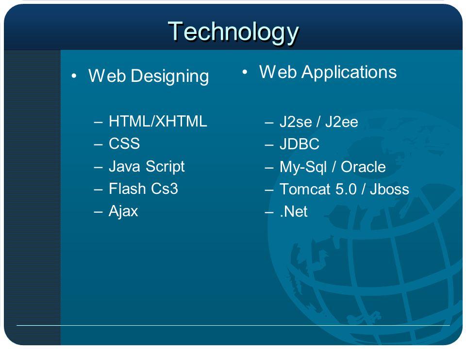 Technology Web Designing –HTML/XHTML –CSS –Java Script –Flash Cs3 –Ajax Web Applications –J2se / J2ee –JDBC –My-Sql / Oracle –Tomcat 5.0 / Jboss –.Net