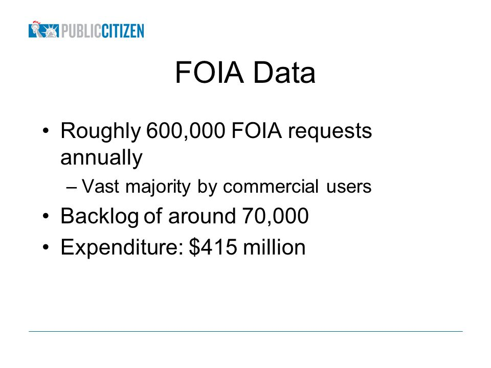 FOIA Data Roughly 600,000 FOIA requests annually –Vast majority by commercial users Backlog of around 70,000 Expenditure: $415 million
