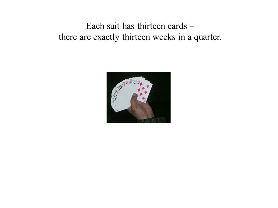 Each suit has thirteen cards – there are exactly thirteen weeks in a quarter.