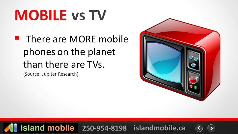 250-954-8198 islandmobile.ca MOBILE vs TV There are MORE mobile phones on the planet than there are TVs.