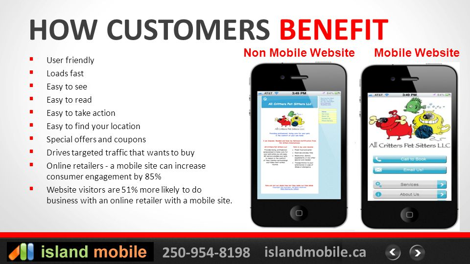 250-954-8198 islandmobile.ca HOW CUSTOMERS BENEFIT User friendly Loads fast Easy to see Easy to read Easy to take action Easy to find your location Special offers and coupons Drives targeted traffic that wants to buy Online retailers - a mobile site can increase consumer engagement by 85% Website visitors are 51% more likely to do business with an online retailer with a mobile site.