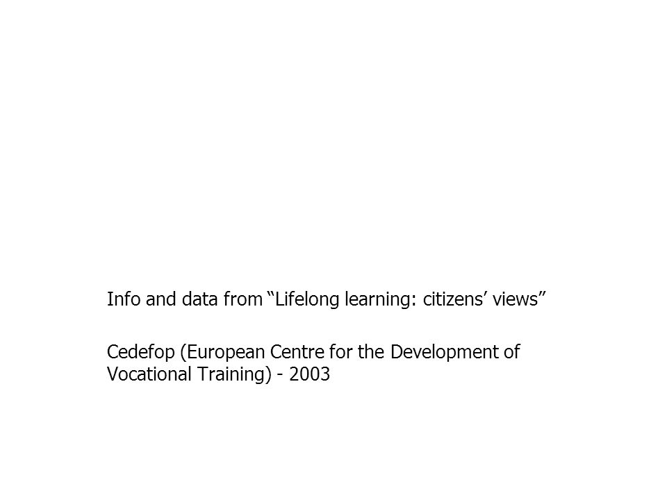 Info and data from Lifelong learning: citizens views Cedefop (European Centre for the Development of Vocational Training)