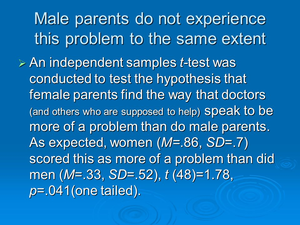 Male parents do not experience this problem to the same extent An independent samples t-test was conducted to test the hypothesis that female parents find the way that doctors (and others who are supposed to help) speak to be more of a problem than do male parents.