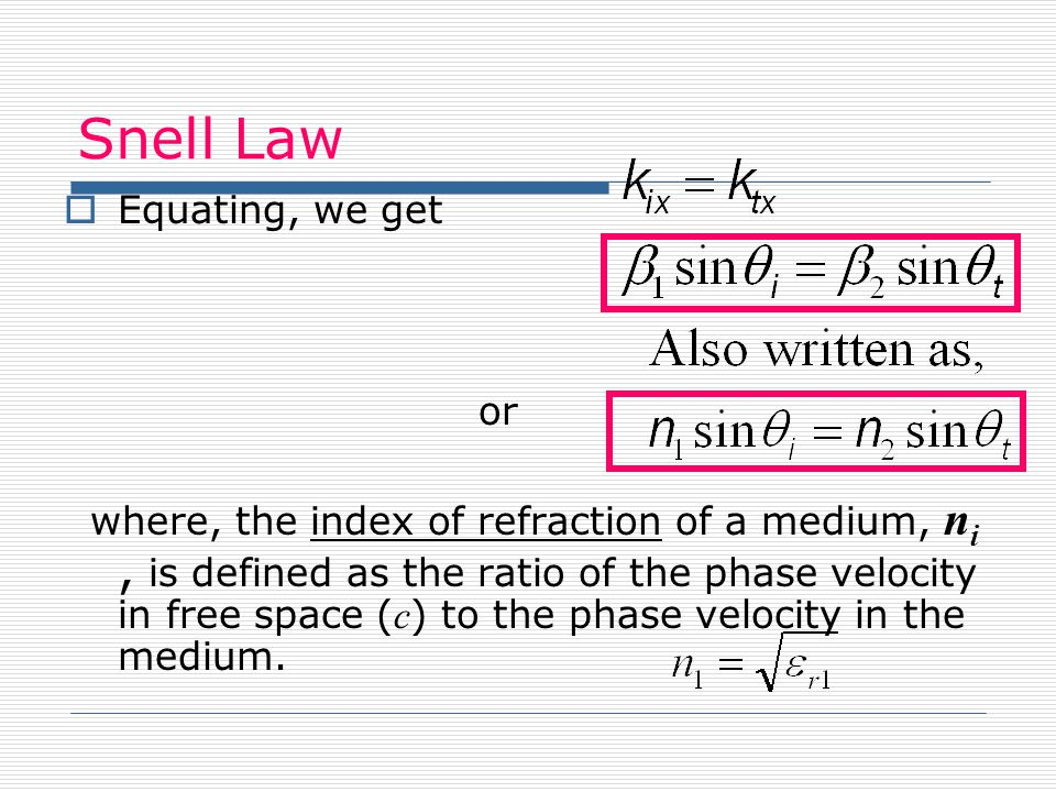 Snell Law Equating, we get or where, the index of refraction of a medium, n i, is defined as the ratio of the phase velocity in free space ( c ) to th