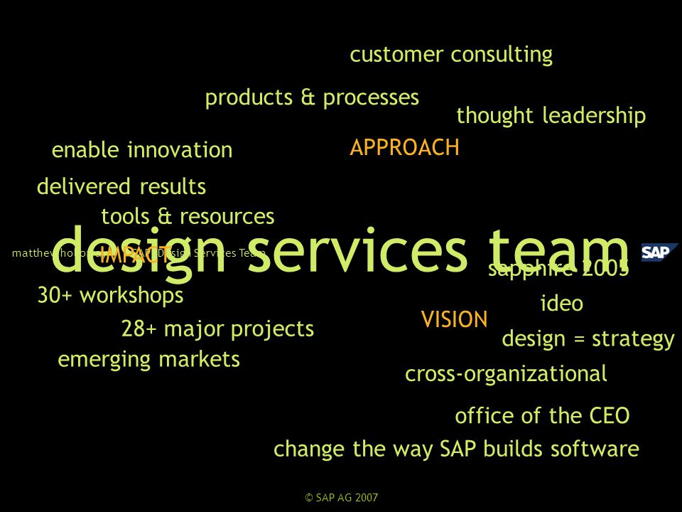 ideo cross-organizational design services team matthew holloway | SAP Design Services Team tools & resources customer consulting thought leadership 28+ major projects sapphire 2005 office of the CEO 30+ workshops IMPACT APPROACH VISION products & processes emerging markets dst delivered results design = strategy enable innovation change the way SAP builds software
