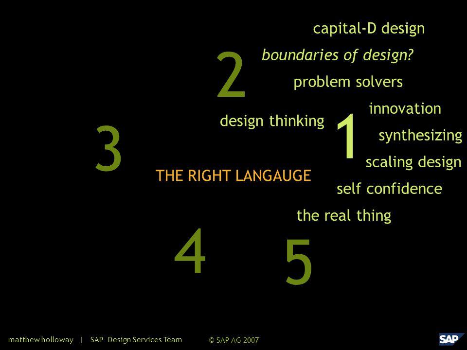 © SAP AG 2007 1 3 2 5 4 problem solvers capital-D design boundaries of design.