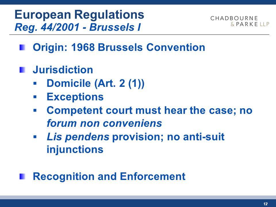 12 European Regulations Reg.