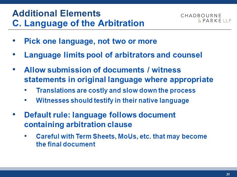 31 Additional Elements C.
