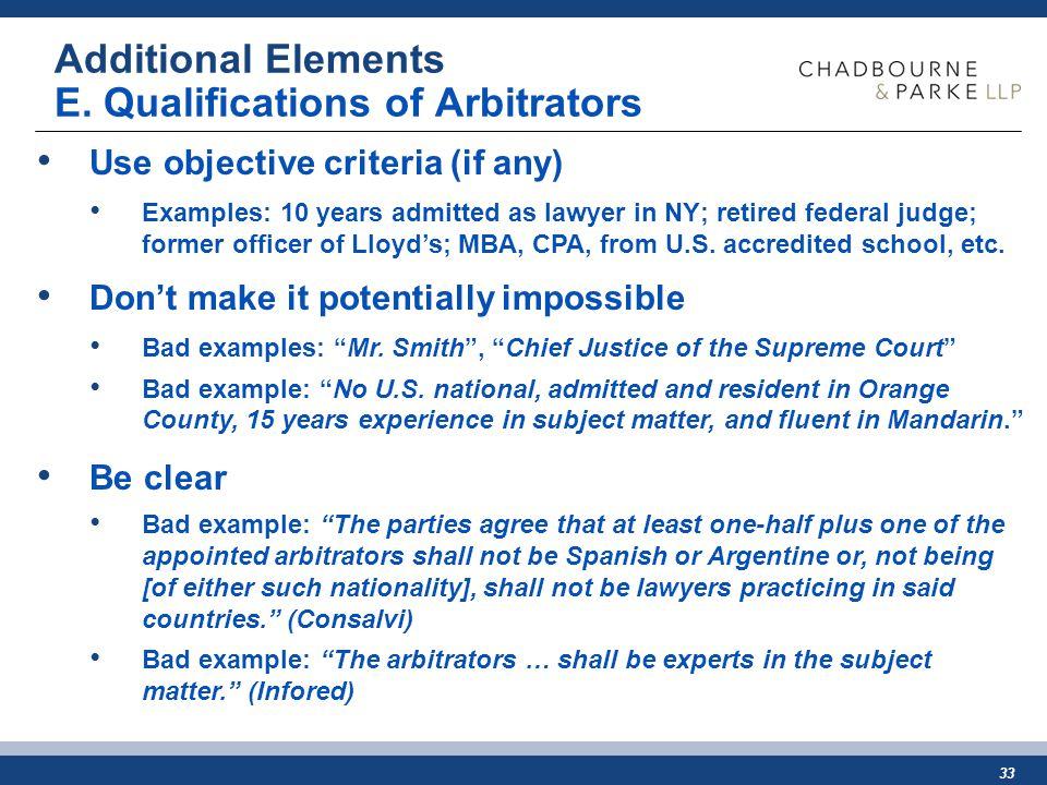 33 Additional Elements E.