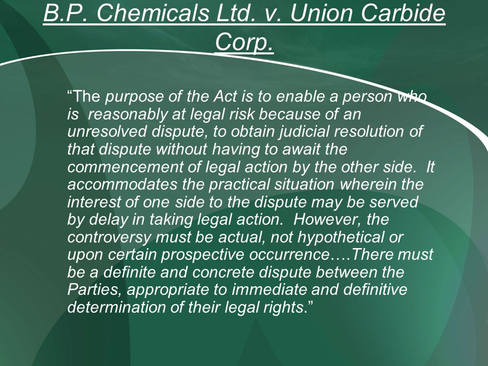B.P. Chemicals Ltd. v. Union Carbide Corp.