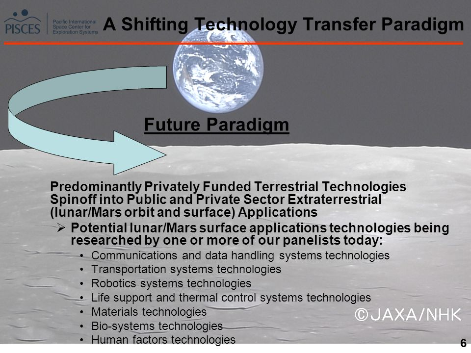 6 A Shifting Technology Transfer Paradigm Future Paradigm Predominantly Privately Funded Terrestrial Technologies Spinoff into Public and Private Sector Extraterrestrial (lunar/Mars orbit and surface) Applications Potential lunar/Mars surface applications technologies being researched by one or more of our panelists today: Communications and data handling systems technologies Transportation systems technologies Robotics systems technologies Life support and thermal control systems technologies Materials technologies Bio-systems technologies Human factors technologies 6