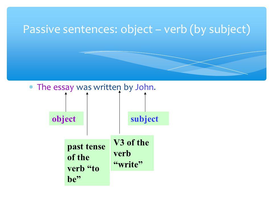 The essay was written by John.