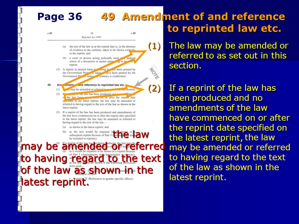 (1) The law may be amended or referred to as set out in this section. (2) If a reprint of the law has been produced and no amendments of the law have