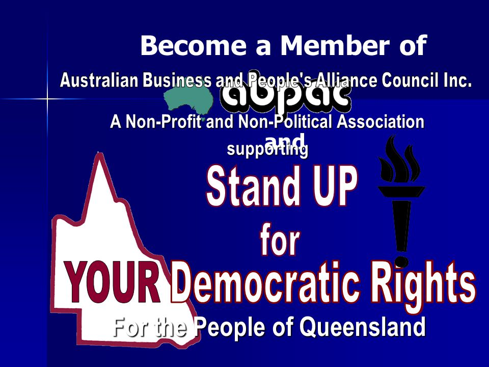 Become a Member of and A Non-Profit and Non-Political Association A Non-Profit and Non-Political Association supporting supporting For the People of Q