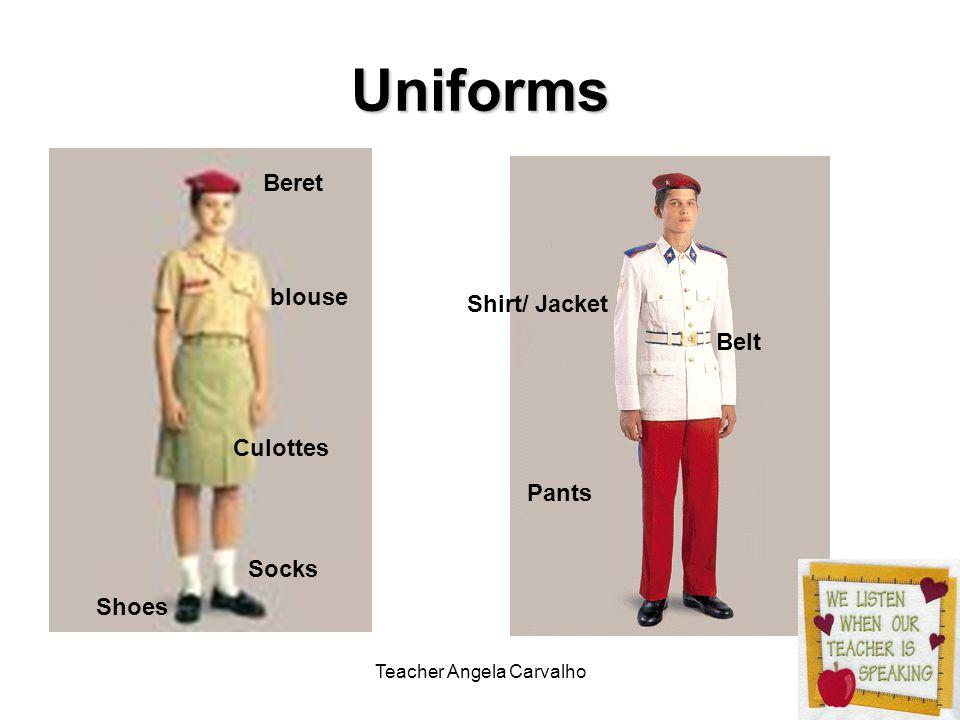 Teacher Angela Carvalho Uniforms Beret blouse Socks Shoes Pants Culottes Belt Shirt/ Jacket