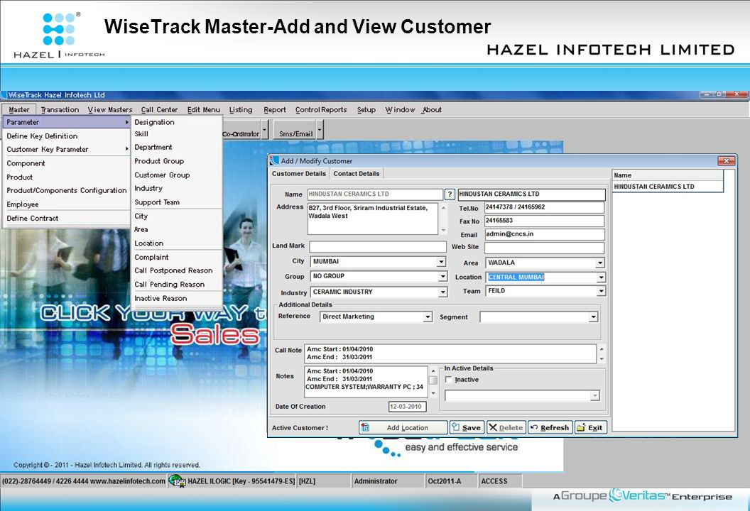 WiseTrack Master-Add and View Customer