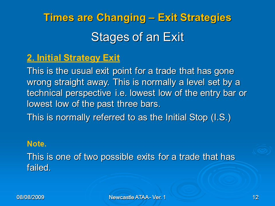 Times are Changing – Exit Strategies 08/08/200912Newcastle ATAA - Ver.