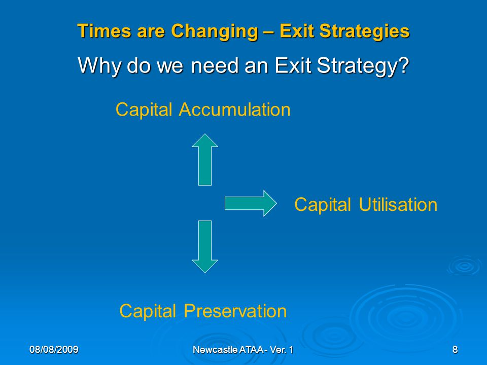 Times are Changing – Exit Strategies Why do we need an Exit Strategy.