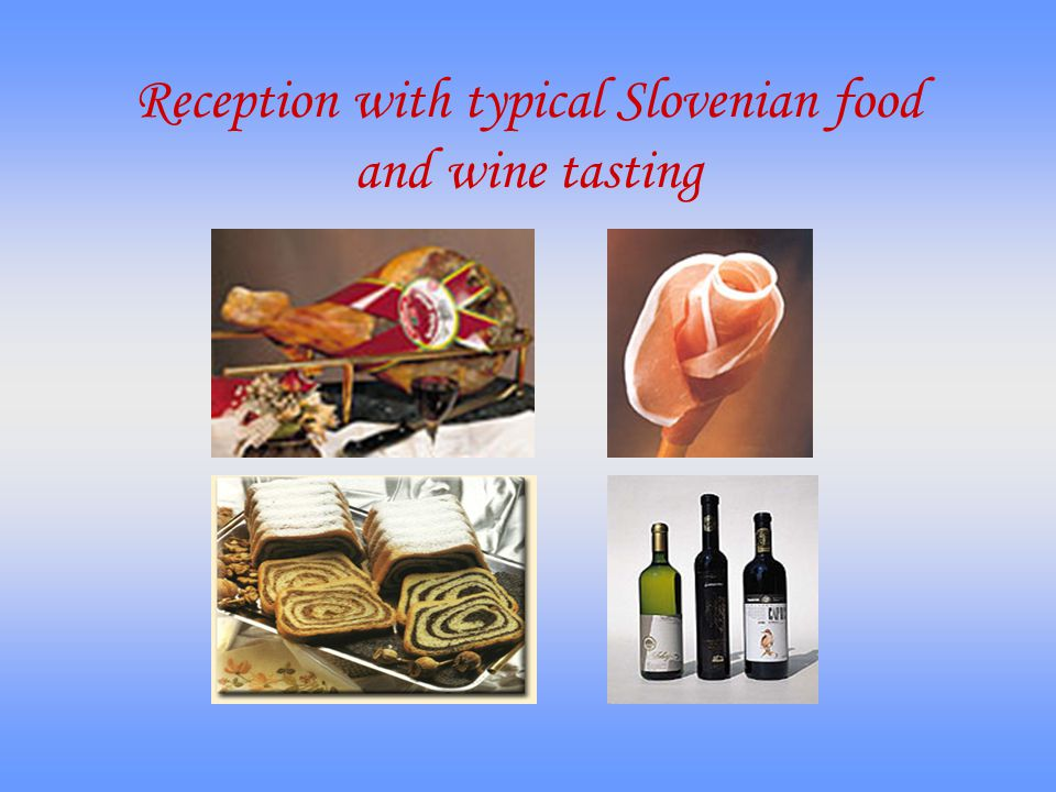 Reception with typical Slovenian food and wine tasting