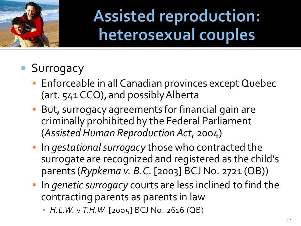 Surrogacy Enforceable in all Canadian provinces except Quebec (art.