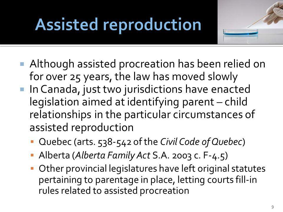 Although assisted procreation has been relied on for over 25 years, the law has moved slowly In Canada, just two jurisdictions have enacted legislation aimed at identifying parent – child relationships in the particular circumstances of assisted reproduction Quebec (arts.