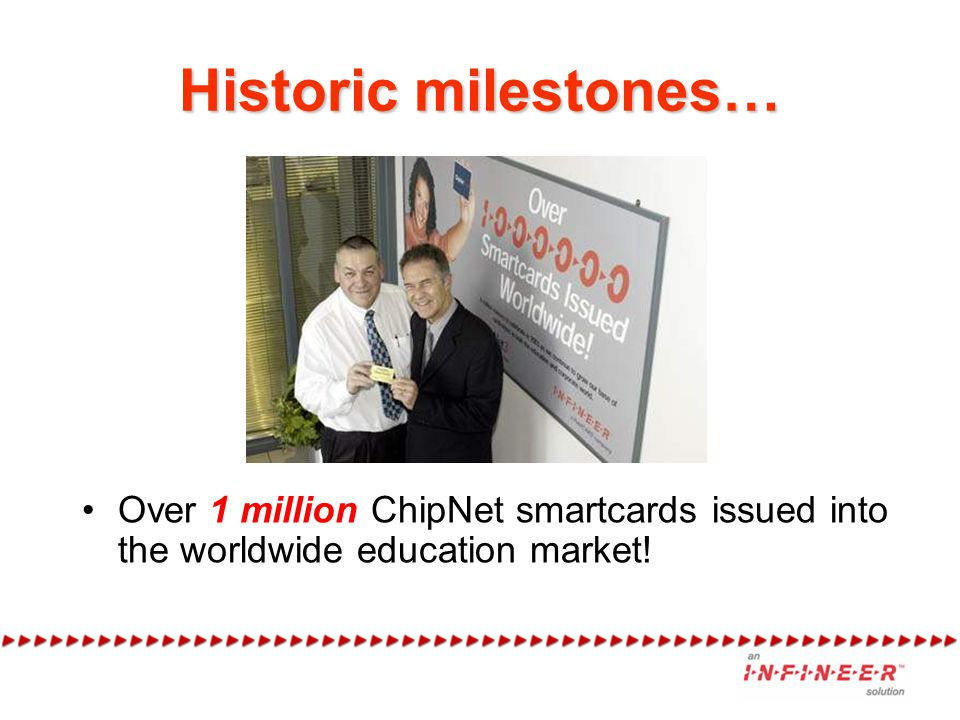 Historic milestones… Over 1 million ChipNet smartcards issued into the worldwide education market!