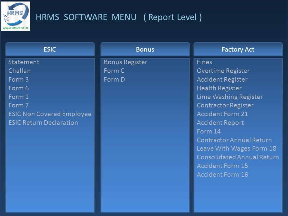 HRMS SOFTWARE MENU ( Report Level ) ESIC Statement Challan Form 3 Form 6 Form 1 Form 7 ESIC Non Covered Employee ESIC Return Declaration Bonus Register Form C Form D Fines Overtime Register Accident Register Health Register Lime Washing Register Contractor Register Accident Form 21 Accident Report Form 14 Contractor Annual Return Leave With Wages Form 18 Consolidated Annual Return Accident Form 15 Accident Form 16 BonusFactory Act