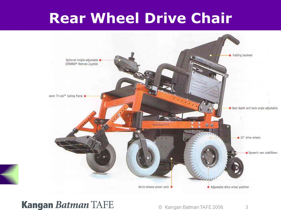 © Kangan Batman TAFE 2006. 3 Rear Wheel Drive Chair