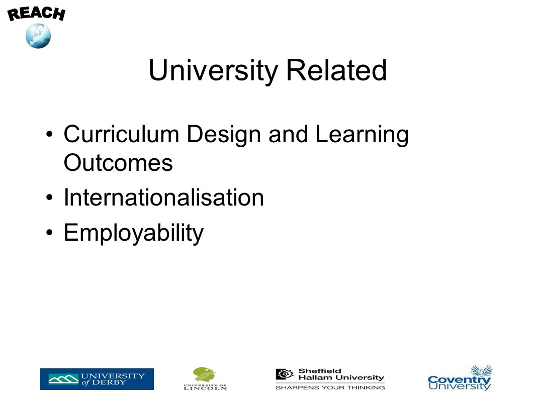 University Related Curriculum Design and Learning Outcomes Internationalisation Employability