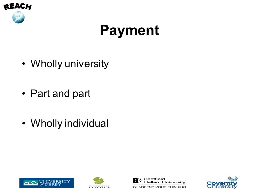 Wholly university Part and part Wholly individual Payment