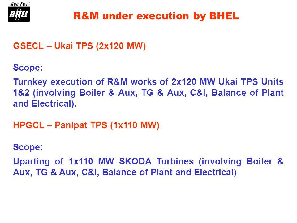 GSECL – Ukai TPS (2x120 MW) Scope: Turnkey execution of R&M works of 2x120 MW Ukai TPS Units 1&2 (involving Boiler & Aux, TG & Aux, C&I, Balance of Pl