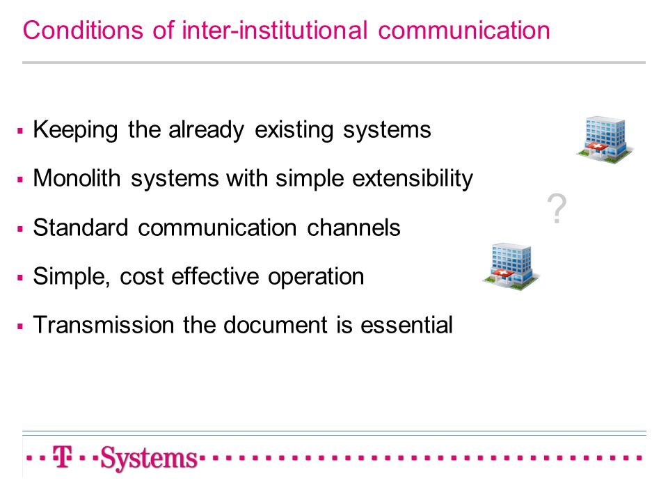 Conditions of inter-institutional communication Keeping the already existing systems Monolith systems with simple extensibility Standard communication
