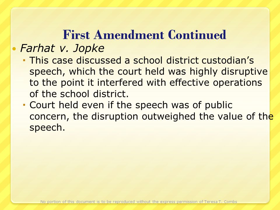 First Amendment Continued Farhat v.
